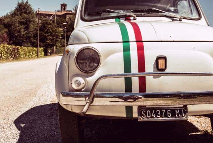 The perfect car for living in Italy - a Fiat in the Italian colors.