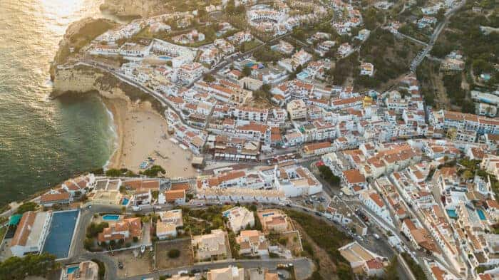 A photo of the Algarve from above