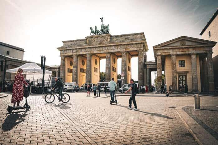 People walking and on bikes in Berlin, Germany