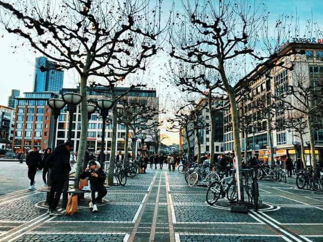 A city scene in Frankfurt, a German city