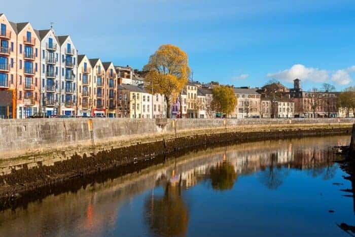 Lovely buildings along a river in Cork, Ireland