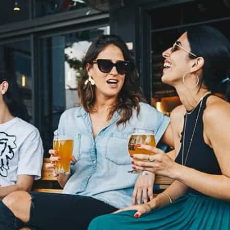 Two ladies enjoying a beer in Prague, Czech Republic