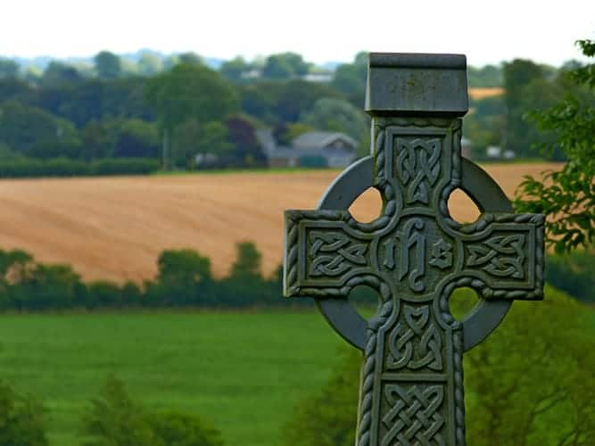 Beautiful rolling hills and church in Ireland