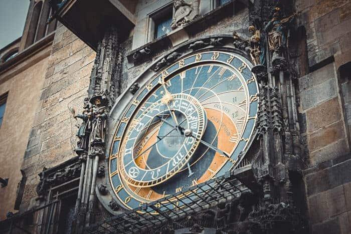 A beautiful clock in a building in Prague, Czech Republic