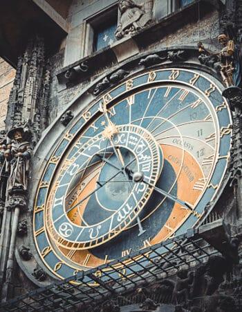 A clock in Prague, Czech Republic
