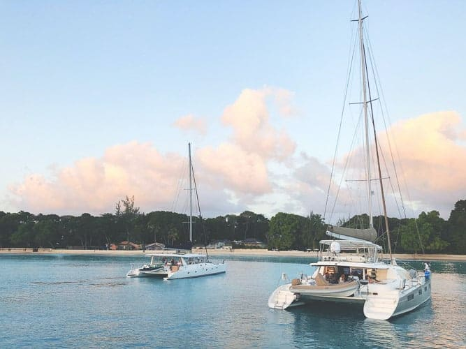Sailing boats on a beach in Barbados