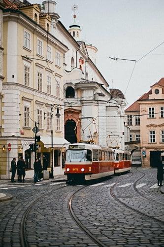 The trams in Prague, Czechia