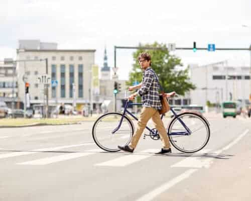Man crossing street in Talinn, Estonia