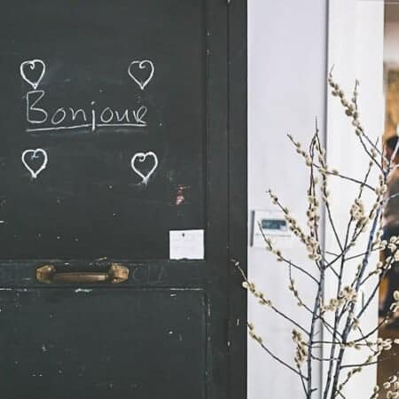 Entrance to a French restaurant