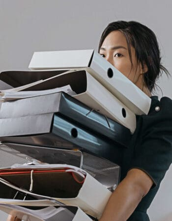 A girls moving overseas with files
