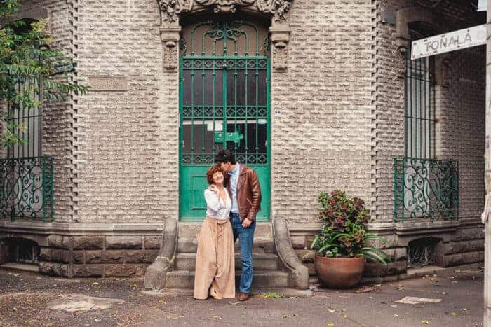 A couple outside their house in Mexico