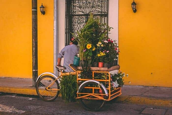 A flower seller in Mexico