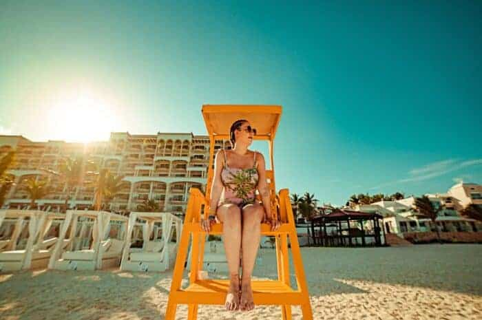 A lady on the beach in Mexico