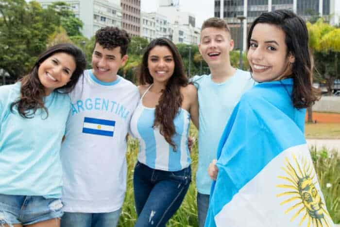 Argentinians with a flag living in Argentina